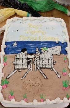 adirondack chairs, bride and groom, beach
