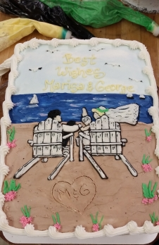 adirondack chairs, bride and groom, beach